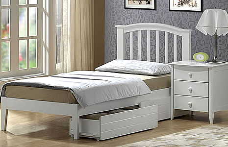 this stylish white bed is made from solid maple and its simple design would be ideal for either a girl or a boys bedroom under bed drawers or a trundle